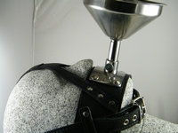 Funnelmask with shiny stainless steel  funnel  Real leather