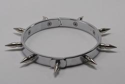 Halsband hoogglans verchroomd, met 9 spikes