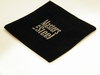 Fluelen geschenk zakje, zwart met klittenband, ca 12 x 14cm